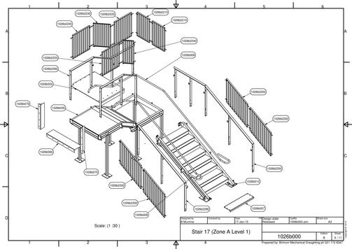 Exploded View Of An Access Stair And Balustrade