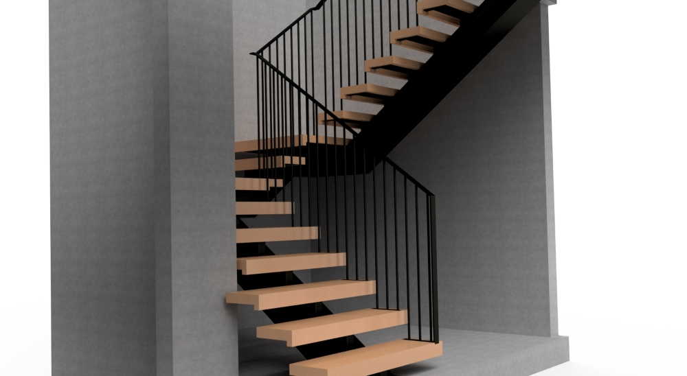 Steel frame stair with steel balustrade, viewed from bottom.