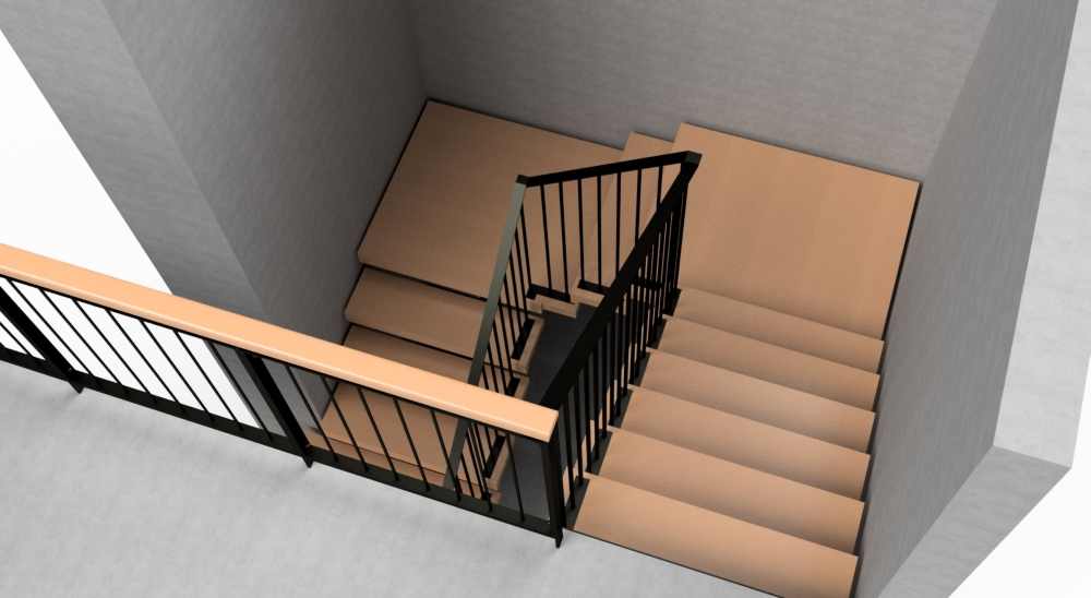 Steel frame stair with steel balustrade, viewed from top.