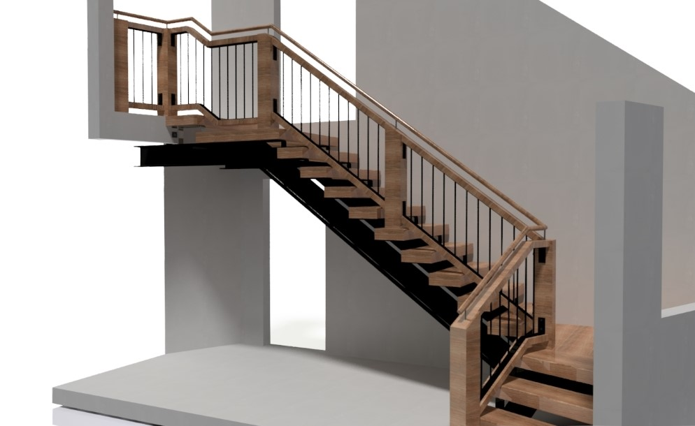 Steel frame stair with wood and steel balustrade, viewed from side