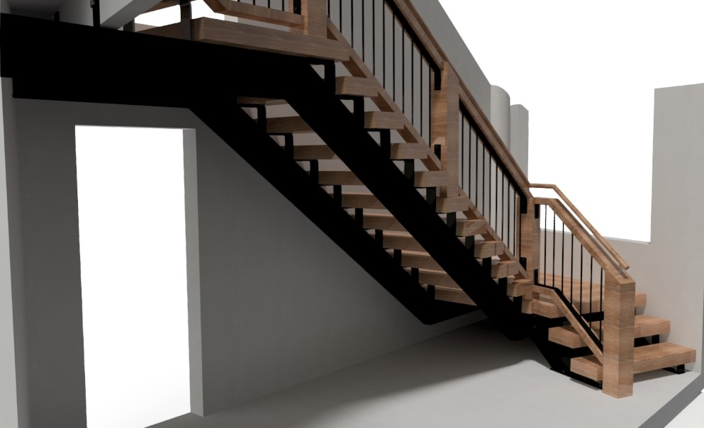 Steel frame stair with wood and steel balustrade, viewed from below