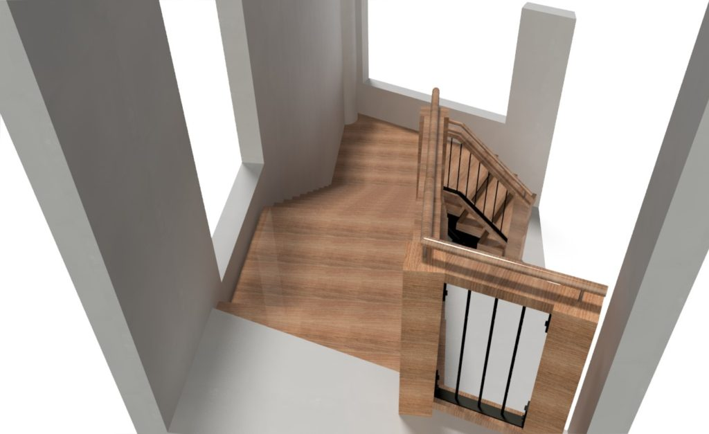 Steel frame stair with wood and steel balustrade, viewed from top