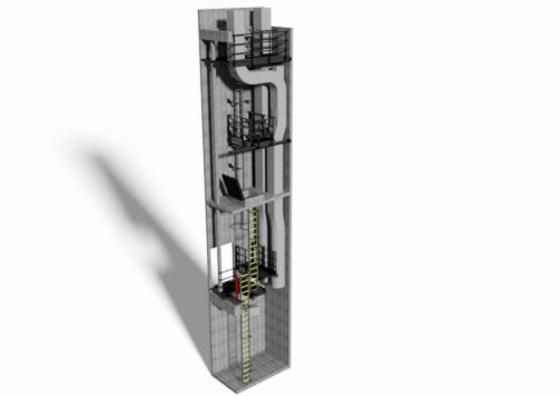 3d model of access platforms and ladders within a tower