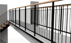 Steel balustrade on landing bridge