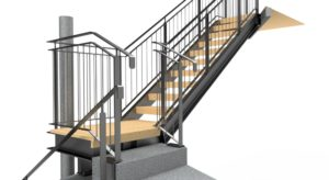 Galvanised steel pfc stair with a flat bar balustrade