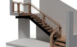 Steel frame stair with wood and steel balustrade.