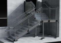 Rendered 3d model of an access stair structure